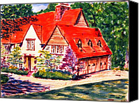 Clayton Painting Canvas Prints - Red house in Clayton Canvas Print by Horacio Prada