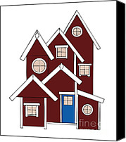 Sheds Canvas Prints - Red Houses Canvas Print by Frank Tschakert