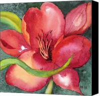 Floral Canvas Prints - Red Lily Canvas Print by Marsha Woods