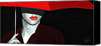 Portraits Canvas Prints - Red Lips and Umbrella Canvas Print by James Shepherd