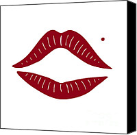 Artworks Canvas Prints - Red Lips Canvas Print by Frank Tschakert