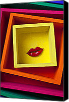 Red Lips Canvas Prints - Red LIps In Yellow Box Canvas Print by Garry Gay