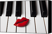 Red Lips Canvas Prints - Red lips on piano keys Canvas Print by Garry Gay
