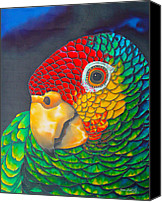 Exotic Bird Canvas Prints - Red Lorred Parrot Canvas Print by Daniel Jean-Baptiste