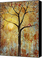 Tree Painting Special Promotions - Red Love Birds in a Tree Canvas Print by Blenda Tyvoll