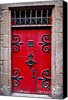 Entrance Canvas Prints - Red medieval door Canvas Print by Elena Elisseeva