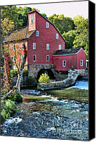 Grist Mill Canvas Prints - Red Mill on the water Canvas Print by Paul Ward