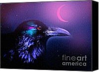 Pink Clouds Digital Art Canvas Prints - Red Moon Raven Canvas Print by Robert Foster