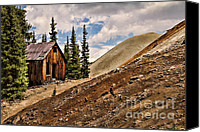 Old Cabins Canvas Prints - Red Mountain Mining Shack Canvas Print by Lana Trussell