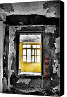Abandoned Structures Canvas Prints - Red N Yellow Canvas Print by Emily Stauring