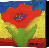 Primitive Drawings Canvas Prints - Red Number 1 Canvas Print by Mary Carol Williams