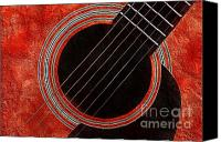 Music Photo Canvas Prints - Red Orange Guitar Canvas Print by Andee Photography