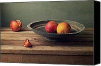 Israel Canvas Prints - Red Oranges On Vintage Plate Canvas Print by Copyright Anna Nemoy(Xaomena)