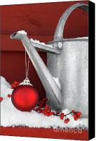 Celebrating Canvas Prints - Red ornament on watering can Canvas Print by Sandra Cunningham