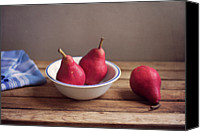Israel Canvas Prints - Red Pears In White Bowl Canvas Print by Copyright Anna Nemoy(Xaomena)
