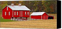 Pennsylvania Dutch Canvas Prints - Red Pennsylvania Dutch Barn and White Fence Canvas Print by Brian Mollenkopf