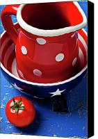 Wooden Bowls Canvas Prints - Red pitcher and tomato Canvas Print by Garry Gay