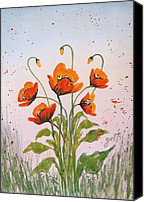 Georgeta Blanaru Canvas Prints - Red Poppies original watercolor  Canvas Print by Georgeta  Blanaru