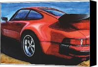 Whale Painting Canvas Prints - Red Porsche 930 Turbo Canvas Print by Rod Seel