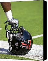 Tx Canvas Prints - Red Raider Helmet Canvas Print by Michael Strong
