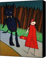 Riding Canvas Prints - Red Ridinghood Canvas Print by James W Johnson