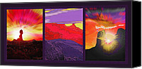 Landmarks Mixed Media Canvas Prints - Red Rock Country Triptych Canvas Print by Steve Ohlsen