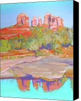 Dry Pastels Canvas Prints - Red Rock Crossing Sedona Canvas Print by Dan Scannell