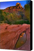 Puddle Canvas Prints - Red Rock Reflection Canvas Print by Mike  Dawson