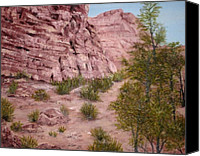 Mountain View Canvas Prints - Red Rock Trail Canvas Print by Roseann Gilmore