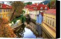 Czech Pyrography Canvas Prints - Red Roofs Of Prague Canvas Print by Jay Lee