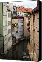 Old Houses Canvas Prints - Red Rooftops in Prague Canal Canvas Print by Linda Woods