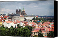 Prague Castle Canvas Prints - Red Rooftops of Prague Canvas Print by Linda Woods