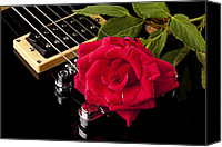 Combo Canvas Prints - Red Rose Black Electric Guitar Canvas Print by M K  Miller