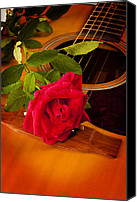 Canvas Wrap Canvas Prints - Red Rose Natural Acoustic Guitar Canvas Print by M K  Miller