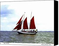 Galveston Canvas Prints - Red Sails Canvas Print by Fred Jinkins