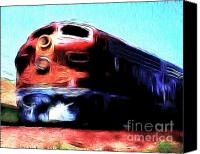 Santa Fe Digital Art Canvas Prints - Red Santa Fe Super Chief Canvas Print by Wingsdomain Art and Photography