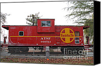 Old Caboose Canvas Prints - Red Sante Fe Caboose Train . 7D10328 Canvas Print by Wingsdomain Art and Photography
