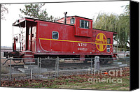 Old Caboose Canvas Prints - Red Sante Fe Caboose Train . 7D10329 Canvas Print by Wingsdomain Art and Photography