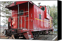Old Caboose Canvas Prints - Red Sante Fe Caboose Train . 7D10330 Canvas Print by Wingsdomain Art and Photography