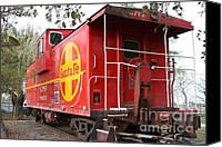 Old Caboose Canvas Prints - Red Sante Fe Caboose Train . 7D10332 Canvas Print by Wingsdomain Art and Photography
