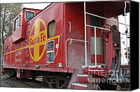 Old Caboose Canvas Prints - Red Sante Fe Caboose Train . 7D10334 Canvas Print by Wingsdomain Art and Photography