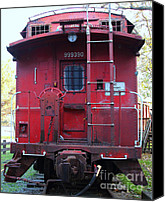 Old Caboose Canvas Prints - Red Sante Fe Caboose Train . 7D10476 Canvas Print by Wingsdomain Art and Photography