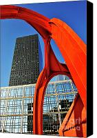 Alexander Calder Canvas Prints - Red sculpture and Skyscraper at  La Defense Canvas Print by Sami Sarkis