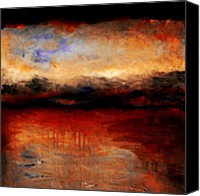 Rays Painting Canvas Prints - Red Skies at Night Canvas Print by Michelle Calkins