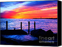 May Canvas Prints - Red Sky at Cape May Canvas Print by Nick Zelinsky