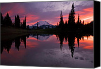 Mt. Rainier Canvas Prints - Red Sky at Night Canvas Print by Mike  Dawson