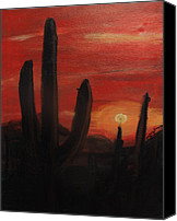 Rafael Gonzales Canvas Prints - Red Sky Canvas Print by Rafael Gonzales