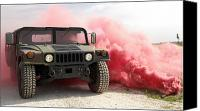 Billows Canvas Prints - Red Smoke Billows Out Onto A Humvee Canvas Print by Stocktrek Images