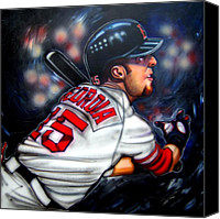 Baseball Painting Canvas Prints - Red Sox All Star Dustin Pedroia Canvas Print by Dave Olsen