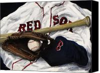 Glove Painting Canvas Prints - Red Sox number nine Canvas Print by Jack Skinner